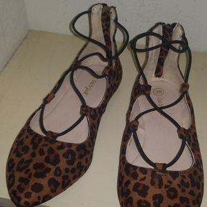 NWOT Leopard lace up ballet flats